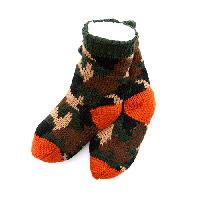 Boys Capelli Camo Berber Socks M/L, Green Combo