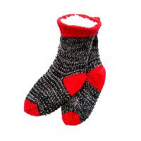 Boys Capelli Marled Berber Socks M/L, Black/Red