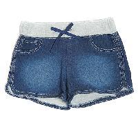 Girls (7-16) Squeeze Grey Knit Waist Denim Shorts 10, Dark Stone