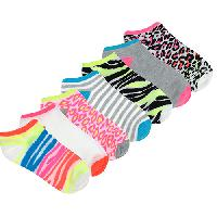Girls 7pc. Neon Animal Print No Show Socks S, Multi