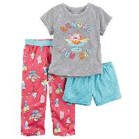 Girls Carter's(R) 3pc. Sundae Funday Pajama Set 4, Grey