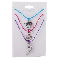 Girls Capelli 3pc. BFF Heart Puzzle Necklaces , Pink / Purple / Blue