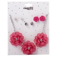 Girls Capelli Metal Flower Necklace & Earrings Set