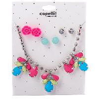 Girls Capelli Flower Stone Necklace & Earrings Set