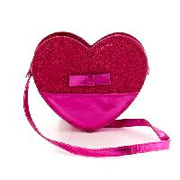 Girls Capelli Glitter & Metallic Heart Crossbody , Fuchsia