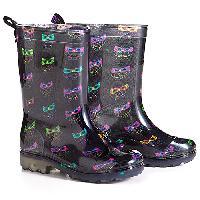 Girls Capelli Owl Print Jelly Rain Boots 1/2, Black Combo