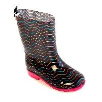 Girls Capelli Black Chevron Rain Boots 1/2, Black Combo