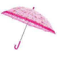 Girls Tri-Coastal Owl Print Ruffle Trim Umbrella , Pink Multi