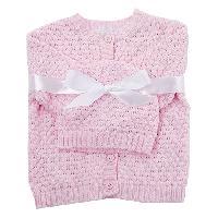 Baby Girl Baby Dove Popcorn Sweater & Hat - Pink Newborn, Pink