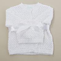 Baby (NB) Baby Dove Popcorn Sweater & Hat Newborn, White