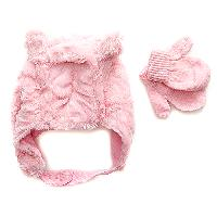 Baby Girl Toby Fur Trapper Hat & Mittens Set , White