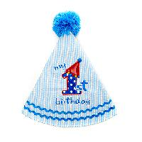 Baby Unisex 1st Birthday Hat , Blue