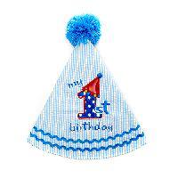 Baby Unisex 1st Birthday Hat , Blue