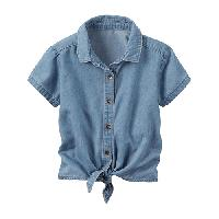 Girls (4-6x) Carter's Button Front Chambray Top 4, Denim