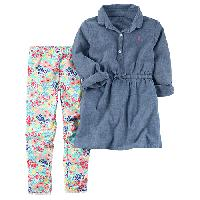 Girls(4-6x) Carter's(R) 2pc. Shirt & Leggings Set 4, Chambray