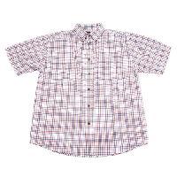 Architect Short Sleeve Plaid Button Down Shirt L, White/Sapphire