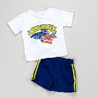 Toddler Boy Weeplay 2pc. One Pound Fish Tee Set 2T, Bright White