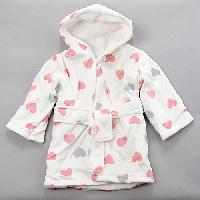 Baby Girl Little Beginnings Heart Print Bath Robe Newborn, White