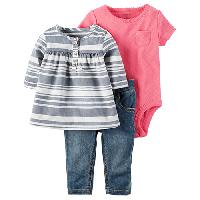 Baby Girl(3-24M) Carter's 3pc. Denim Jeans Set 12 Months, Pink