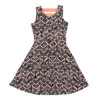 Girls (7-16) Colette Lilly Geometric Skater Dress L, Neon Coral