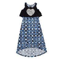 Girls (7-16) XOXO Heart Maxi Dress L, Black/Hydrangea