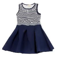 Girls(7-16) BTween  Stripe Jewel Neck Skater Dress 10, Ivory/Navy