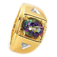 Mens Gold Over Silver Mystic Fire Ring , Gold