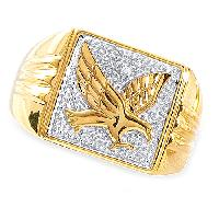 Mens Gold Over Silver Square Eagle Ring , Gold