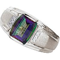 Mens Sterling Silver Mystic Topaz Ring , Silver