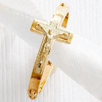 Two-Tone 14kt. Gold Crucifix Rosary Ring 7, Two-Tone