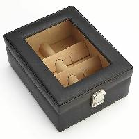 Royce Leather 4 Slot Eyeglass Box , Black