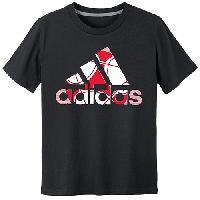 Boys (8-20) adidas(R) Soccer Logo Short Sleeve Tee S, Black/Scarlet