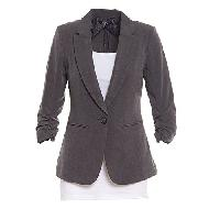 Juniors XOXO 3/4 Seele Ruched Blazer L, Dark Grey
