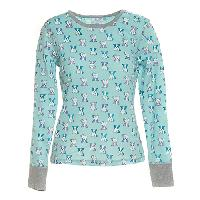 Rene Rofe Dog Print Thermal Pajama Top L, Blue