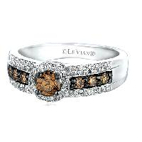 Le Vian(R) 0.18ctw. Round Cut Chocolate Diamond , White Gold/Brown