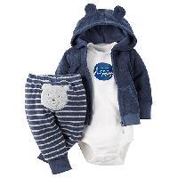 Baby Boy (NB-12M) Carter's Happy Bear Hoodie Set Newborn, Blue
