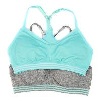 Girls Rene Rofe 2pk. Racerback Sports Bras L, Blue/Grey