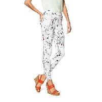 Hue Floral Curvy Fit Denim Leggings L, White