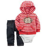 Baby Boy (3-24M) Carter's Monkey Hoodie Set 12 Months, Red
