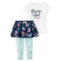 Baby Girl(3-24M) Carter's Dad's Girl Leggings Set 12 Months, White