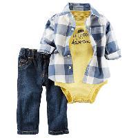 Baby Boy (3-24M) Carter's(R) Button Front Shirt Set 12 Months, Yellow/Denim