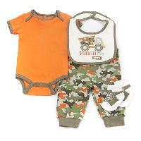 Baby Boy (0-12M) Baby Gear Tough Guy 4pc. Set 0-3 Months, Orange
