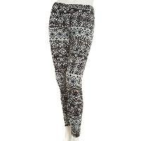 Juniors Poof! Peached Medallion Leggings L, Black Combo