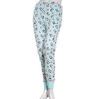 Rene Rofe Panda Print Thermal Pajama Pants L, Beach Glass / Pink