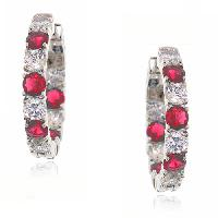 Lab Created Ruby & Cubic Zirconia Hoop Earrings , Silver/Red