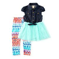 Girls (4-6x) One Step Up 2pc. Chambray Top Set L, Mint Flower