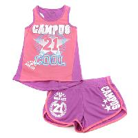 Girls (7-16) Q Tee Campus Cool Shorts Set M, Neon Pink