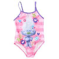 Girls (4-6x) Trolls Stripe Floral Strappy Swimsuit 4, Pink