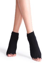 Black Half Toe Yoga Socks