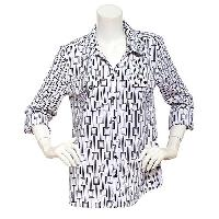 Notations Button Front Printed Shirt M, Tortorella